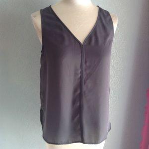 BANANA REPUBLIC silky gray sleeveless blouse S
